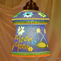 Multicolors Hanging Mosaic Lamp in White