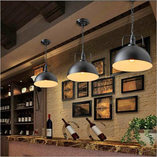 Hanging Light Wooden & Brass