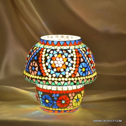 Small Mosaic Glass Table Lamp Home Decor
