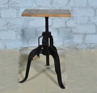 Vintage Industrial Crank Cafe Table