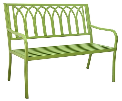 Green Metal Outdoor Patio Bench