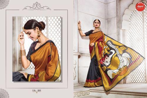 Religious Printed Silk Saree