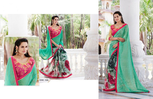 Printed Saree With Fancy Blouse