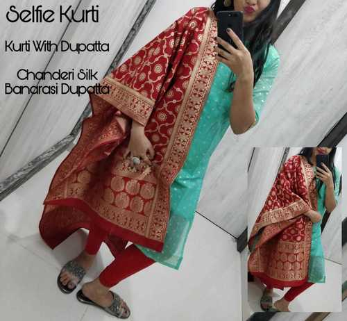 chanderi kurti with dupatta