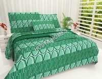 Emerald Color Printed Cotton Bed Sheet