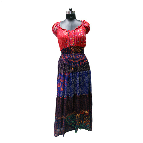 Half Sleeves Long Dress Made By Lungi