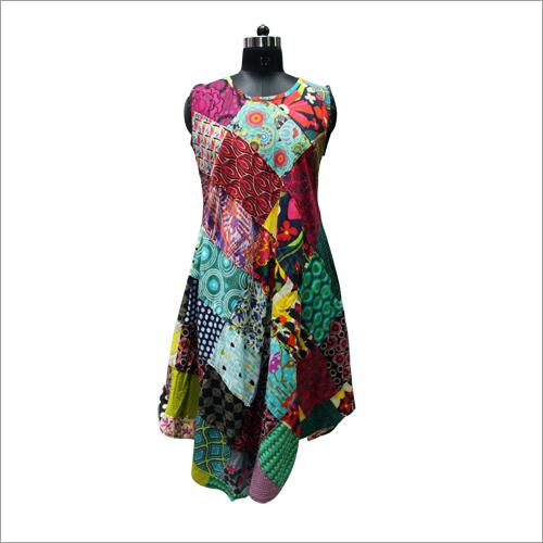 Ladies Patchwork Sleeveless Umbrella Dress