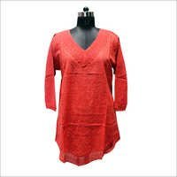Embroidered Makdi Jaal Long Kurti