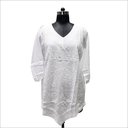 Embroidered Makdi Jaal White Long Kurti