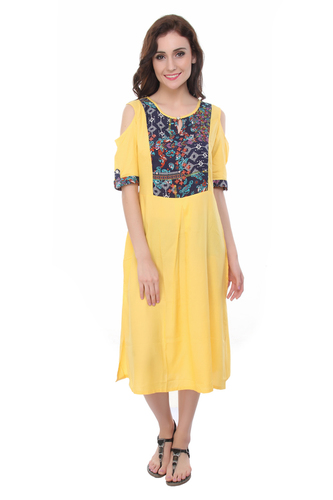 Yellow Cold Shoulder Blue Yoke Kurti