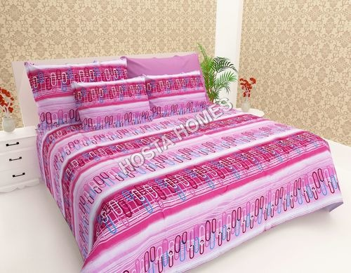 Pink Color Abstract Cotton Bed Sheet