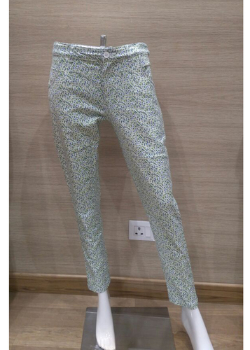 Green Printed Cotton Lycra Pant