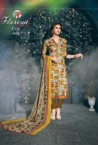 Cotton dress materials floreon trends eva with chiffon dupatta