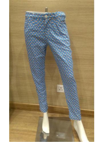 Base Brown Flower Cotton Lycra Pants