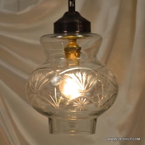 Hanging Kandil Lamps Golden Single White Nazar