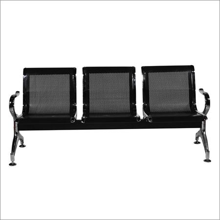 Black Steel Three Seater Waiting Chairs