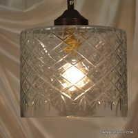 Glass Double Globe Hanging Light Green Glass Cylinder Diamond Vintage hanging lamp