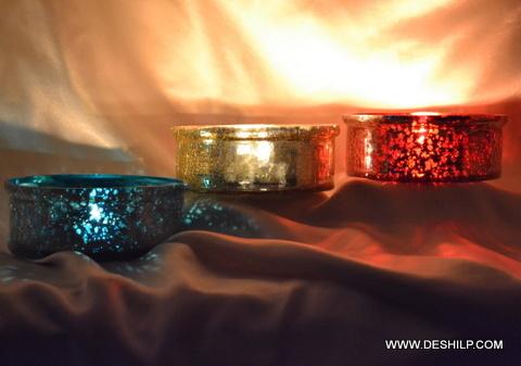 Cut Glass Amber Pedestal Votive Tealight Candle Holder