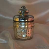 Silver Gold Glass Jar with glass lid Storage jar Glass Bottle With glass lid Large