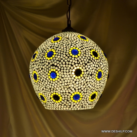 Bell-Shaped Pendant Light With Glass Shade Hanging