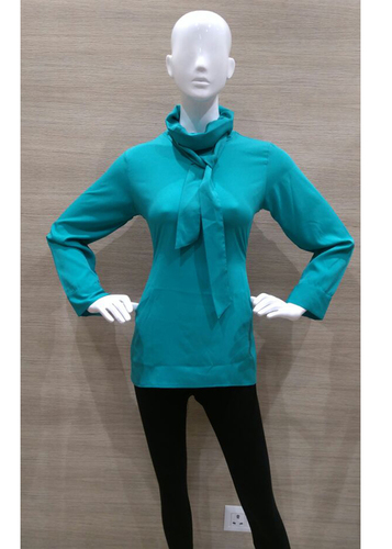 Green Crepe Folded Neck Top