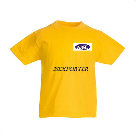 Mens Yellow Round Neck T Shirts