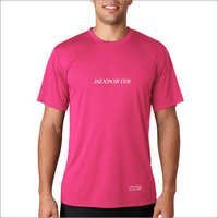 Mens Pink Round Neck T-Shirts