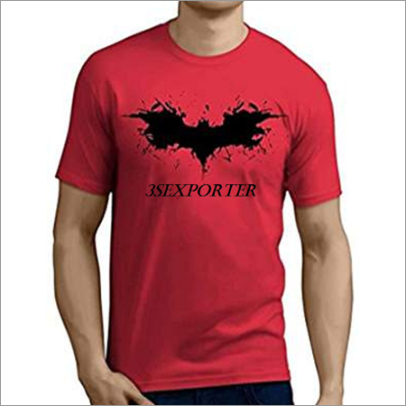 Mens Red Round Neck T Shirts