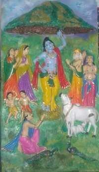 Krishna Govardhan Mural