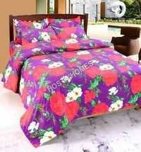 Red & Whiet Color Flower Poly Cotton Bed Sheet