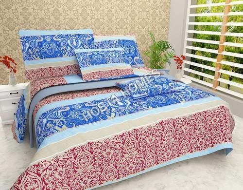 Multicolor Abstract Poly Cotton Bed Sheet