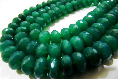 Green Onyx Rondelle Faceted Beads