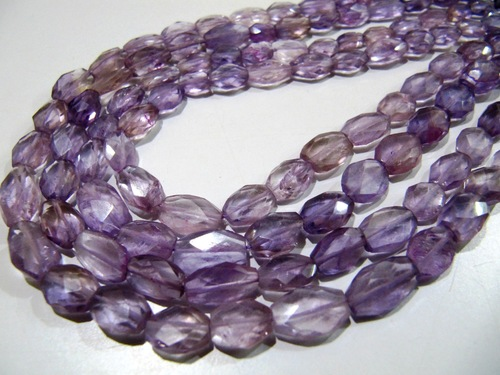 Pink Amethyst Oval Faceted Beads