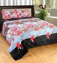 Red & White Floral Bed Sheet