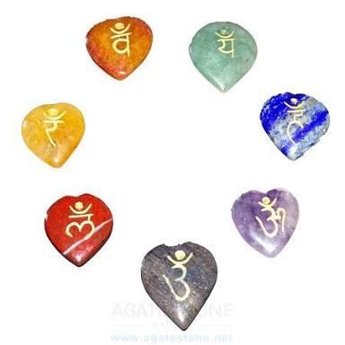 7 Chakra Engraved Heart Set