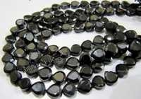 Natural Black Spinel Heart Shape Faceted Beads