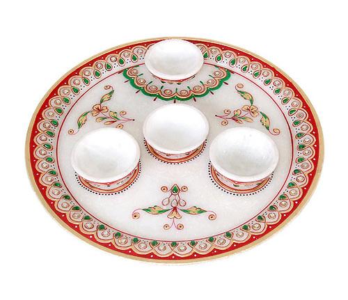 Marble Pooja Thali from Jaipur