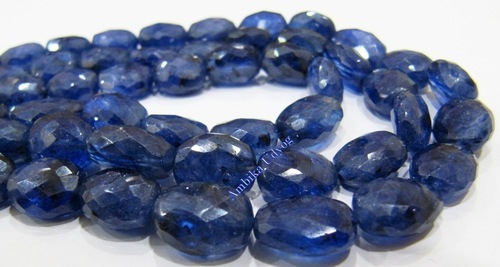 Natural Blue Sapphire Oval Faceted Briolette Beads