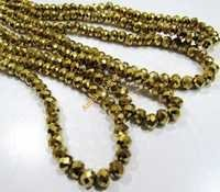 Crystal Glass Golden Pyrite Color Beads