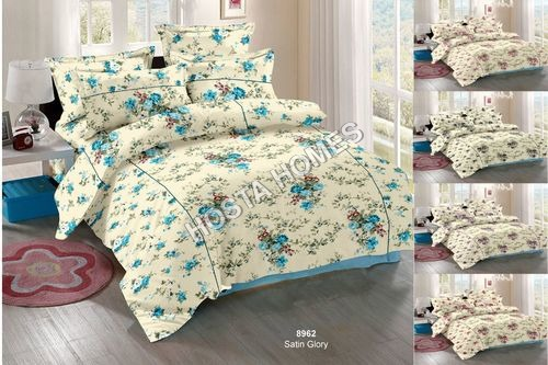 Sky Blue Floral Cotton Bed Sheet