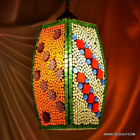 Modern Pendant Light with White Glass in Mosaic Finish Mini-Pendant Light