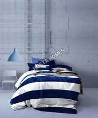 Blue & White Color Cotton Bed Sheet
