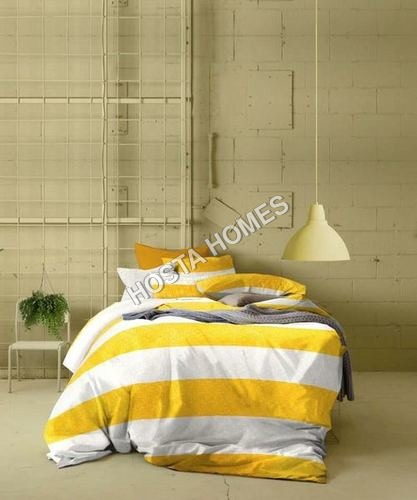 White & Yellow Color Cotton Printed Bed Sheet