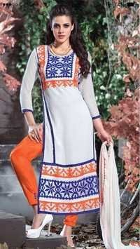 Cotton dress with embroidary work tiranga white cotton