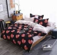 Heart Print Cotton Comforter Set 4 Piece