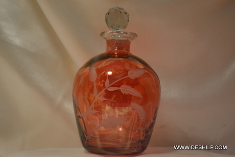Crystal Red Decanter Glass Decanter in Amber Vintage Decanter, Glass Decante