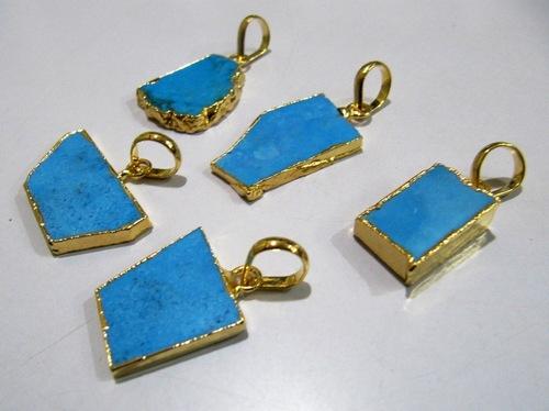 Natural Turquoise Magnesite Slice Pendant