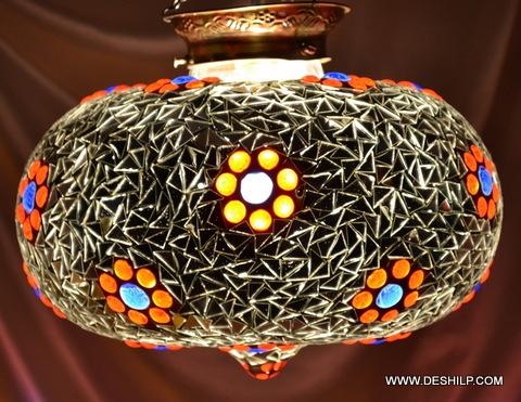 Pink Star Mosaic Glass Lamp White Sultan Lamp Red Star Single Hanging Lamp