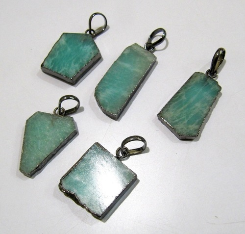 Natural Amazonite Slice Pendant