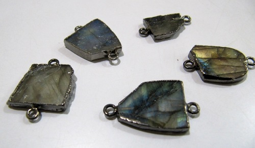 Natural Labradorite Slice Connector
